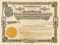 Coeur d'Alene Mining & Smelting Company   Wallace Idaho stock certificate share