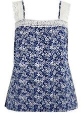 EVANS Disty Crochet Camisole Top  30/32 Blue /Multi
