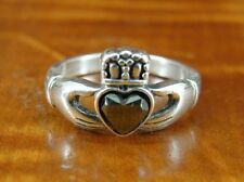 Vintage Signed WM Claddagh Marcasite Sterling Silver RING Size 7