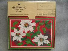 18 Vintage 1970s Hallmark Christmas Cards White Poinsettias Holly Berries