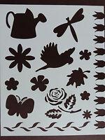 Plastic/PVC/Coated/Paper/Stencil/Multi/Garden/Rose/Butterfly/Bird/Flower/NEW