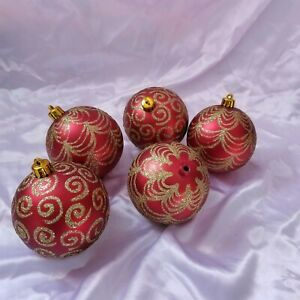 5 Large Red with Gold Swirls and Drapes Glitter Plastic Tree Ornaments