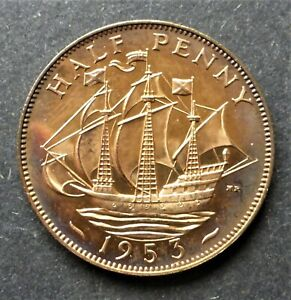 """GREAT BRITAIN 1953 PROOF 1/2d """"GOLDEN HINDE"""" CAN. SHIP $1.99 COMB. SHIP"""