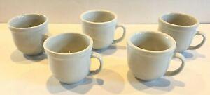 POTTERY BARN White Suppertime Du Jour Mugs- Set of 5