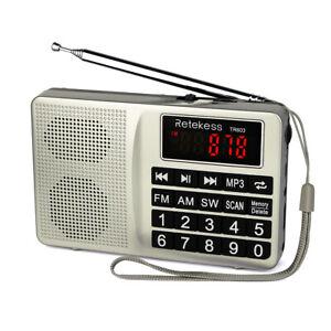 Retekess Portable FM/AM/SW Radio MP3 Player Rechargeable AUX for the Seniors US