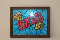 Vintage Foil Art Under Glass 5 Cent Beer Man Cave Bar Sign in Wood Frame