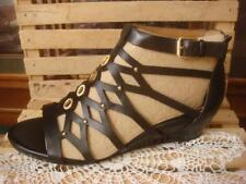 NIB ~ SOFFT ROSLYN BLACK GENUINE LEATHER GLADIATOR CAGE STRAPPY SANDALS ~ SZ 8M