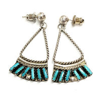 Vintage Zuni Sterling Silver Needle Point Turquoise Dangle-Post Earrings