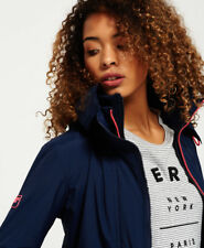 Superdry Ladies' Jacket Pop Zip Hood Arctic Windcheater Nautical Navy Lurex L