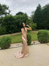 HONEY COUTURE Gold Sequin Formal Dress Size XS/8