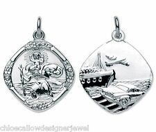 19mm Double Sided Sterling Silver St Saint Christopher Pendant Necklace Gift Bag