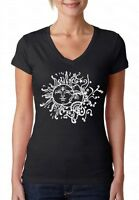 Sun Moon White V-NECK WOMEN T-Shirt Astrology Planets Crescent Star Ladies Shirt