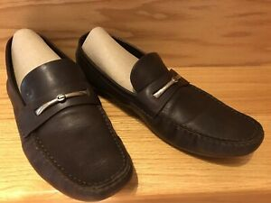 Ermengildo Zegna Mens Slip On Comfort Shoes Leather Loafers USA Sz 10 Brown