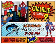 Superman Spider Man Batman Birthday Party Invitations Personalized Custom