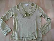 ELEGANCE schöner Pullover Boho Stil m. Blumen grüngelb Gr. 38 w. NEU ZC116