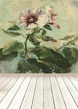 Retro Flower Photo Backdrop Baby Wooden Floor Vinyl Photography Background 5x7ft