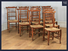 Antique x 10 Georgian Style Ash Elm Spindle Back Rush Seat Kitchen Dining Chairs