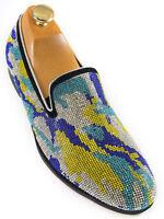 Fiesso Men Blue Green Silver Multi Crystal Design SlipOn Party Red Bottom Shoe