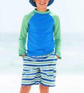 CABANA LIFE Boys 8 10 14 Painted Stripes UPF 50 Rashguard & Swim Shorts Set NWT