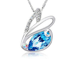 Sterling SILVER Bunny Pendant Necklace SWAROVSKI Element CRYSTAL Chain Box F14