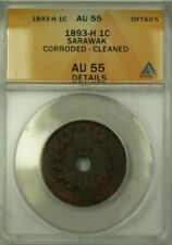 1893 Sarawak 1 Cent Coin ANACS AU 55 Corroded Cleaned Details