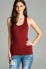 Women's Racerback COTTON Tank Top Soft Stretchy Basic Sleeveless Tee #T1734 3910