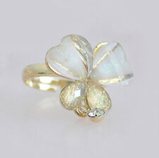 Fashion Women White Crystal Clover Gold Plated Ring Jewelry Gift Adjustable