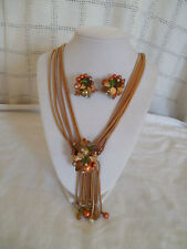 Vintage gold tone mesh cord beaded tassel necklace w/matching earrings