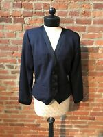 Yves Saint Laurent Rive Gauche Blazer Blue Black Trim Crop Jacket 38 Wool 80's