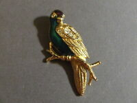 AVON GOLD TONE ENAMEL RHINESTONE TROPICAL BIRD PARROT ON BRANCH PIN BROOCH