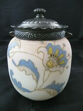 Crown Milano Cracker Biscuit Jar Mt Washington Burmese Art Glass Antique C1890s