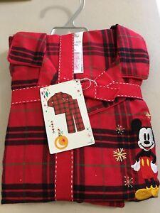 Disney store Mickey Mouse Plaid Men pajama set Christmas Holiday Men NEW