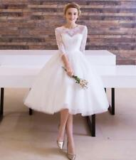 Wedding Dresses 3/4 Sleeves Short Bridal Gowns Plus Size 4 6 8 10 12 14 16 18 20