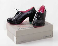 Black patent pink & turquoise lace up brogues shoes Kangaroos UK 8