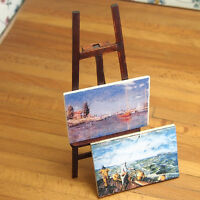 1:12 DIY Miniature Wooden Easel With Two Paintings Dollhouse Decor Miniature Kit