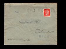 WWII Germany Latvia Occupation Ostland Ovpt Hitler Riga Map Cancel 1943 Cover 6q
