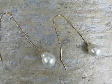 14K Yellow Gold & Genuine Paspaley South Sea Pearl Threader Ball Chain Earrings