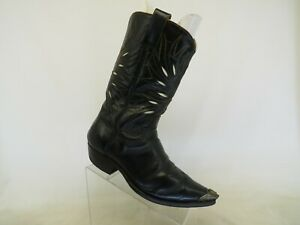 Black Leather Inlay Cowboy Western Boots Mens Size 10 E