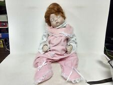 """Koltz Red Head Baby Girl Porcelain Doll 18"""" Tall Pink Jumpsuit Lace        ds316"""