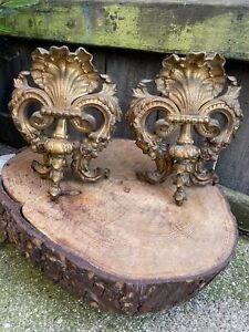 ANTIQUE pair of FRENCH LOUIS XV ORMOLU SHELL MOUNTS ornate furniture appliqué