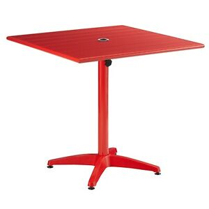 """32"""" x 32"""" Square Red Aluminum Garden Patio Dining Table with Umbrella Hole"""