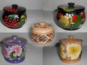 Various Ukrainian Traditional Ornament Painted Wooden Salt Cellar with a Lid New