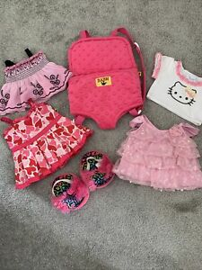 BUILD-A-BEAR Clothes, Dresses, Hello Kitty Top,  Shoes and Pink Carrier