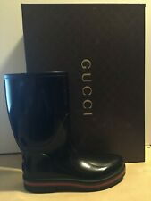 NIB GUCCI Black Rubber Rain Boots 202752 Sz 7 Eu 8 US Men's