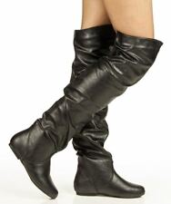 Trend-Hi Over-the-Knee Thigh High Flat Slouchy Shaft Low Heel Boots - BLACK PU