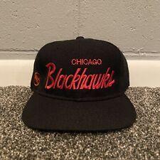 90s Chicago Blackhawks Sports Specialties Script Snapback Hat Wool NHL Vintage