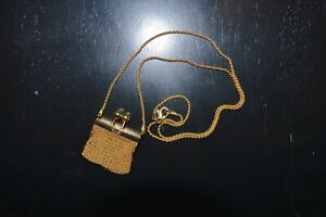 VINTAGE 14K GOLD MESH COIN PURSE NECKLACE