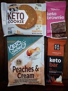 4 Pcs 1 Ea. Perfect Keto Bar, Kiss My Keto Brownie, Keto Chow Low Carb PB Cookie
