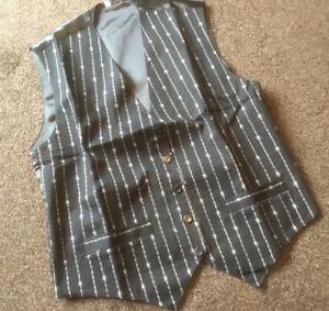 """BARBED WIRE BLACK AND WHITE WAISTCOAT MEDIUM 38"""" CATERING BAR RESTAURANT LADIES"""