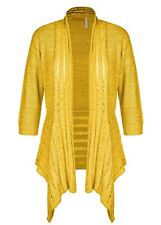3/4 sleeve ochre YELLOW lace detail waterfall cardigan jumper jacket XL 18 NEW